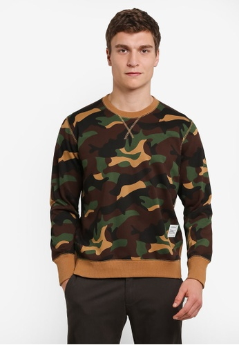 Sparrow Green multi and brown Harper Camo Sweater SP065AA0S0TNMY_1