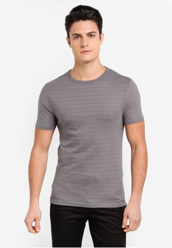 River Island 灰色 修身短袖T恤 FE187AA6D69E9EGS_1