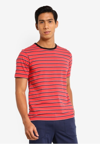 UniqTee orange Striped Tee with Contrast Collar 6F210AAB943BC9GS_1