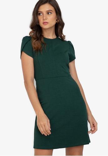 ZALORA WORK green Tulip Sleeves Mini Dress 9EFC8AAE9568F4GS_1