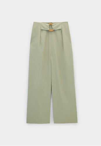 Pomelo grey Buckle Accent Wide Leg Pants - Light Grey E4082AA7E81770GS_1