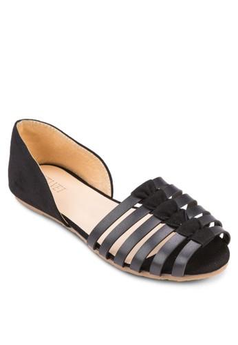 Rainezalora鞋子評價 多帶側空露趾平底鞋, 女鞋, 鞋