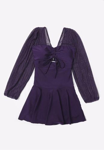 ZITIQUE purple Women's Elegant See-through Long Sleeve One-piece Swimsuit - Purple C9472USE86CD85GS_1