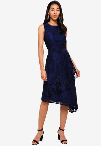 WAREHOUSE navy Lace Wrap Midi Dress 0933FAA4DF8A2AGS_1
