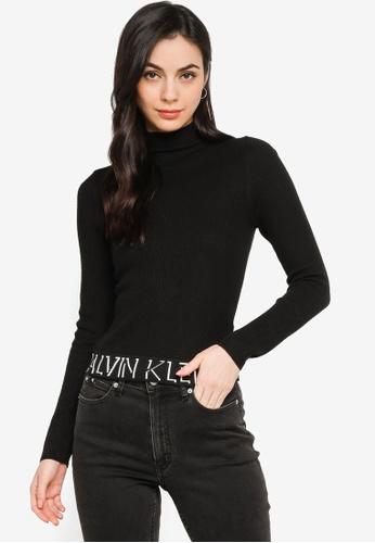 CALVIN KLEIN black Logo Tape Sweater - CK Jeans D49B1AACFB5703GS_1