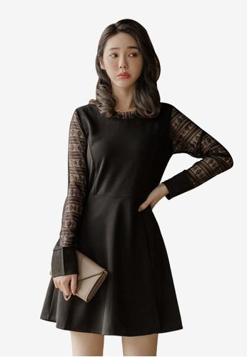 Tokichoi black A-Line Skirt with Lacy Sleeves 54CEBAA3B6266EGS_1