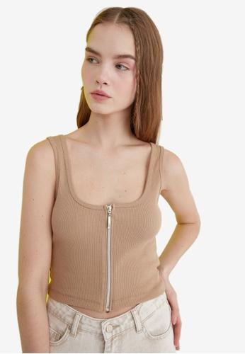Trendyol brown Zip Front Knitted Crop Top EF925AA0F51EE6GS_1