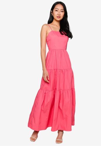 ZALORA BASICS orange Square Neck Cami Tiered Dress BA118AACBD7EA1GS_1
