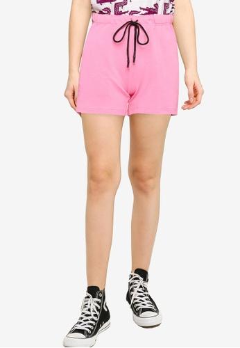 UniqTee pink Velvet Side Tape Shorts 64BD5AA0F6257DGS_1