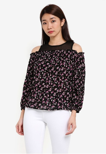Dorothy Perkins multi Petite Ditsy Cold Shoulder Top DO816AA0RSO3MY_1