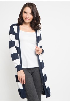 harga Cardigan Ringgo 2 Colour Stripes Zalora.co.id