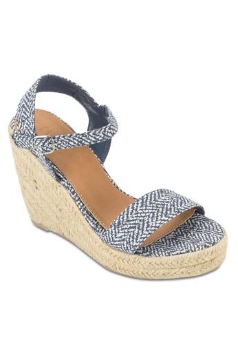 Regal 麻編厚底esprit taiwan楔型跟涼鞋, 女鞋, 鞋