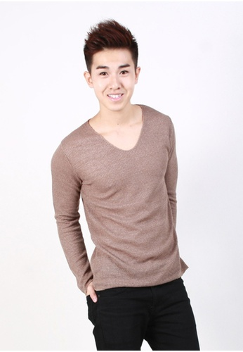M-Wanted brown M. Deep V-neck Jumper MW173AA56DFVSG_1