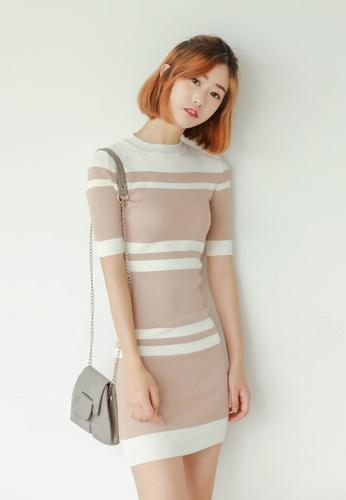 Shopsfashion white and beige Linda Bodycon Dress SH656AA77CVUSG_1