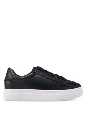 Something Borrowed black Fringe Lace Up Sneakers 6BFECSHF92AA57GS_1