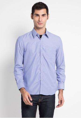 Tolliver blue Striped Long Slim Fit Shirt 7106DAA5DDA605GS_1