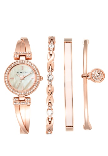 Anne Klein gold Anne Klein Women's  AK-2238RGST Swarovski Crystal-Accented Rose Gold-Tone Bangle Watch and Bracelet Set F3FCAAC398AB4CGS_1