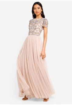 1039d9e6ce Frock and Frill pink Chloe Fit And Flare Detailed Top Maxi Dress  4769BAA3B7DE45GS 1