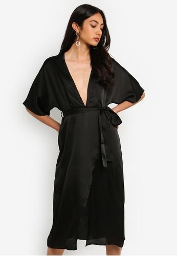 1e8c58af06329 Shop MISSGUIDED Satin Short Sleeve Wrap Midi Dress Online on ZALORA  Philippines