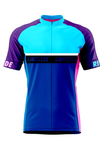 Trijee blue and purple and multi Trijee Laurent Unisex Cycling Jersey - Blue Purple B0194AAC51EF75GS_1