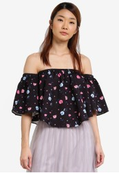 Something Borrowed black Curved Hem Off Shoulder Top 16512AA8A3E116GS_1