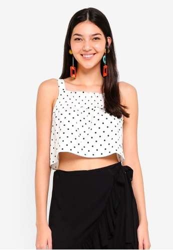 Supre white Shirred Strappy Crop Top 14349AAEDBE337GS_1