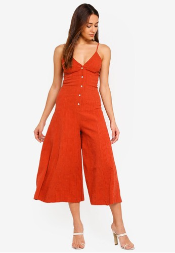 INDIKAH red and orange Faux Button Front Midi Jumpsuit 4754CAA5EE0F4CGS_1