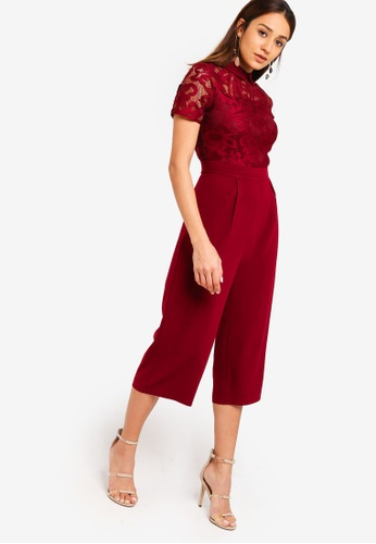 ZALORA red Lace Jumpsuit With Collar 6A2EBAA8B59FDDGS_1