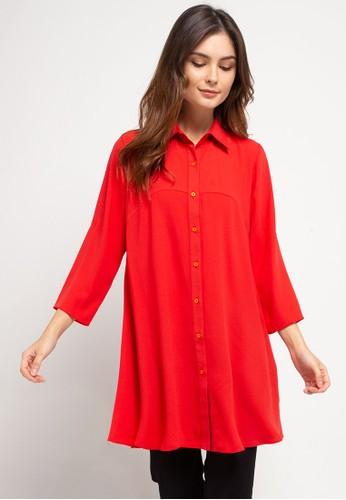 BRILLIANT GIRL orange Crepe Plain Shirt 620AFAA6F1CC70GS_1
