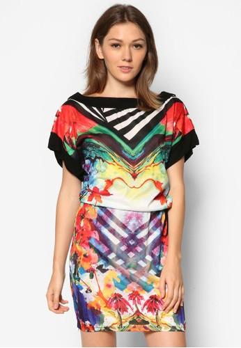Lucex 撞色印花連身esprit home 台灣裙, 服飾, 夏日洋裝