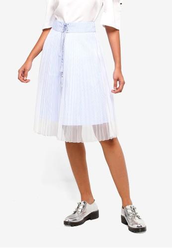 Hopeshow blue Midi Skirt With Semi Sheer Mesh 8178DAA04BBAECGS_1