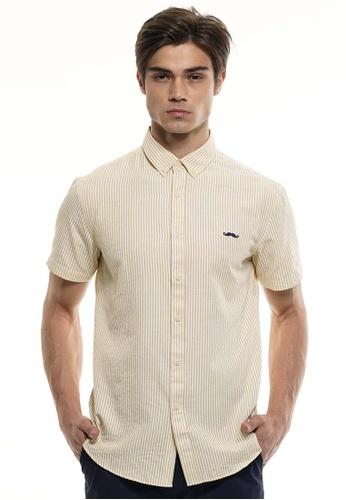 Private Stitch yellow Private Stitch Men Casual Short Sleeve Slim Fit Cotton Stripe Shirt B5331AA748EB9BGS_1
