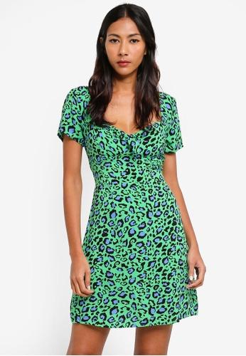 Factorie green Woven Tie Front Short Sleeve Dress D2F28AA4E136DBGS_1