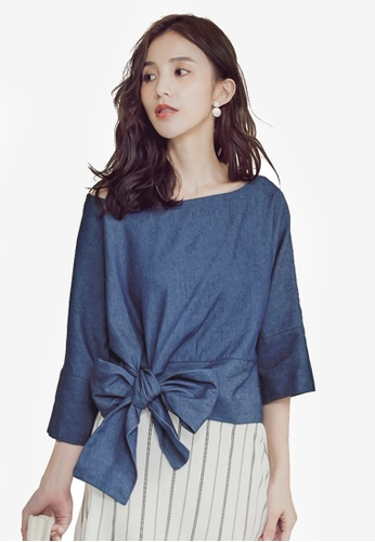 Yoco blue and navy Tie-Front Elbow-Length Top 23850AA2A476B2GS_1