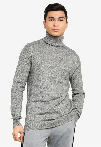 Brave Soul grey High Role Rib Neck Jumper ECD39AA2660A4AGS_1