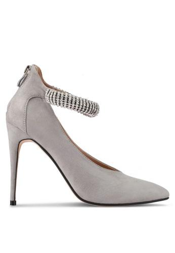 ZALORA 灰色 Crystal Strap High Heels 84C76SH4CD9500GS_1