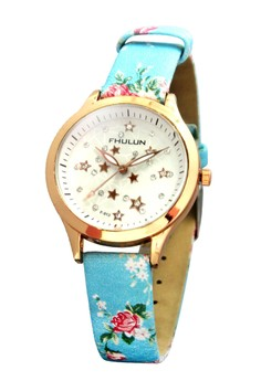 Fhulun Golden Stars Leather Strap Watch F-913