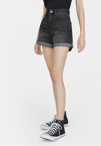 Pomelo black High Rise Denim Mom Shorts - Black EC81EAAC52635EGS_1