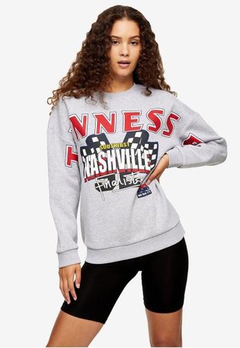 TOPSHOP grey Nascar Racing Sweatshirt E2240AABCEE762GS_1