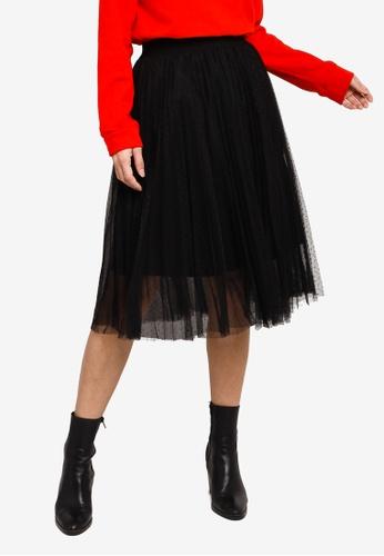 Hopeshow black Pleated Midi Skirt With Polka Dot Mesh 74D22AA48CD34EGS_1