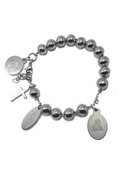 Stainless Steel 4 Medals Rosary Bracelet