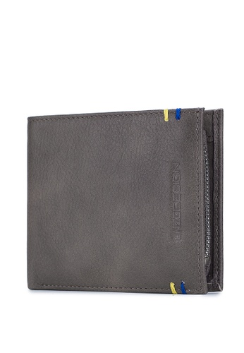 ENZODESIGN grey Two Tone Grey Cow Leather Premium Wallet with Zip Coin Compartment C04ECACD97104FGS_1