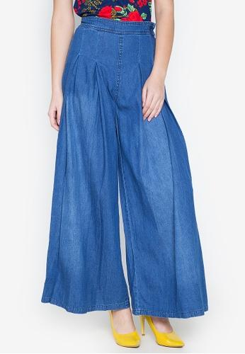 Chictees blue Faye Flared Denim Pants C16C7AA5AB104DGS_1