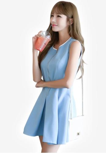 Sunnydaysweety blue S/S Blue Polyester Vest Dress CA032102-0 0D29AAA3A1039BGS_1