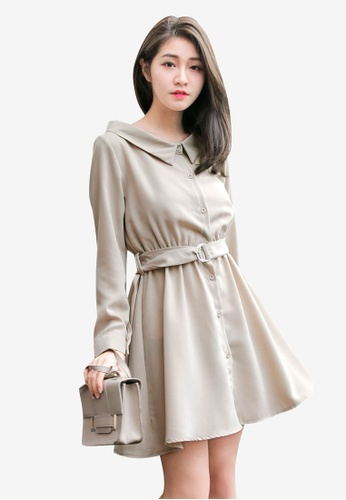 Tokichoi beige Belted Buttoned Up Dress 18CE5AABD8EB88GS_1
