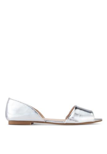 ZALORA silver Peep Toe D'Orsay Flats 4278CSH44E8009GS_1