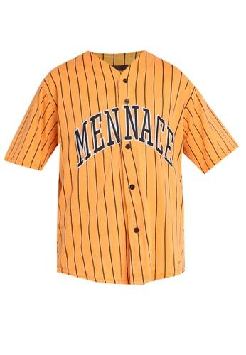 Mennace orange Stripe Baseball Shirt 6F0BEAA283FDC4GS_1
