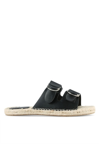 Something Borrowed black Double Strap Espadrille Sliders 2A8FBZZ219CE63GS_1