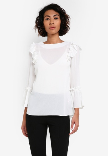 Dorothy Perkins white Ivory Tori Ruffle Top DO816AA0RV2PMY_1