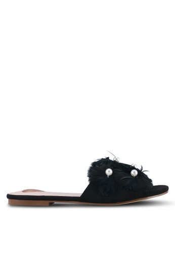 Velvet black Pearl Feather Embellished Sliders F63A9ZZAC75CF3GS_1